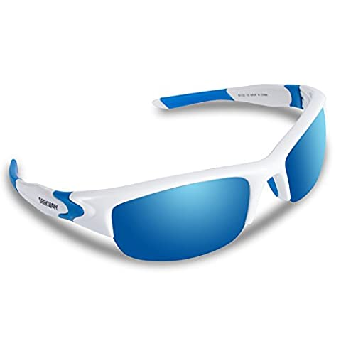 SEEKWAY Polarized Outdoor Half-frame Sports Sunglasses For Cycling Driving Fishing Golf Baseball SWC089 (white&blue, blue iced (White Out Contact Lens)
