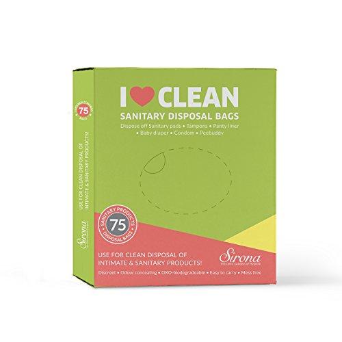 Sirona Sanitary Disposable Bags – 75 Bags for Discreet Disposal of Tampons, Condoms, Diaper, Sanitary Pads, Panty Liner…