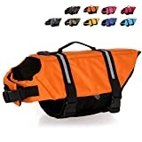 HAOCOO Dog Life Jacket Vest Saver Safety Swimsuit Preserver with Reflective Stripes/Adjustable Belt Dogs?Orange,XL