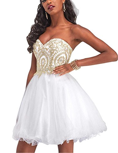 Manfei Short Prom Dress Bridesmaid Party Gowns Gold Appliques White Size 10