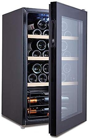 HYYQG Nevera para Vino Nevera para Bebidas Muy Silenciosa 4 Estantes Temperatura 5 °C A 20 °C 32 Botellas De Vino Negro Temperatura Constante Inteligente Luz Led Blanca, Black