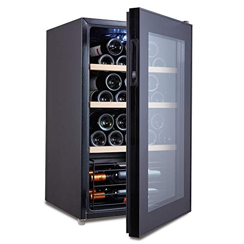 - HYYQG Wine Bottle and Drinks Thermoelectric Black Vertical Cooler Fridge with 32 Bottle Large Capacity Led Temperature Control Panel Small Mini Appliance Metal Home Kitchen, Black