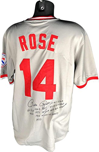 (Pete Rose Signed Jersey - Stat Hit King ROY WS Beckett BAS - Beckett Authentication - Autographed MLB Jerseys)