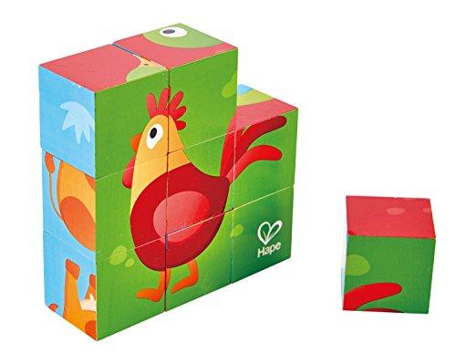 Building Blocks Wooden Farm - Hape Farm Animal Block Puzzle Game, Multicolor, 5'' x 2''