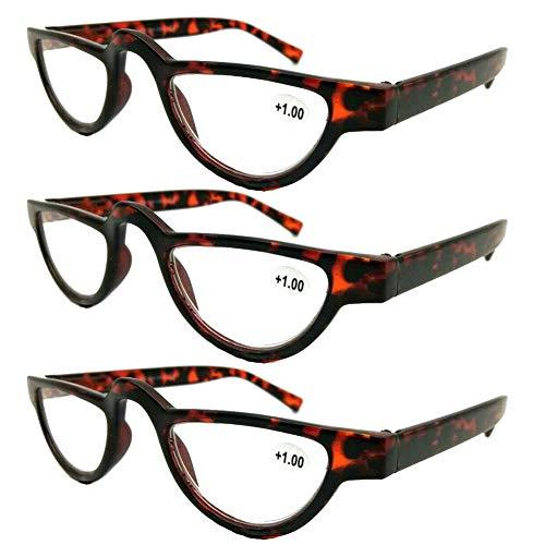 AMILLET 3 Pack Unisex Half Moon Reading Glasses,Retro Vintage Spectacles Readers for Women and Men Red Tortoise +2.00 (Best Spectacles Frames For Men)