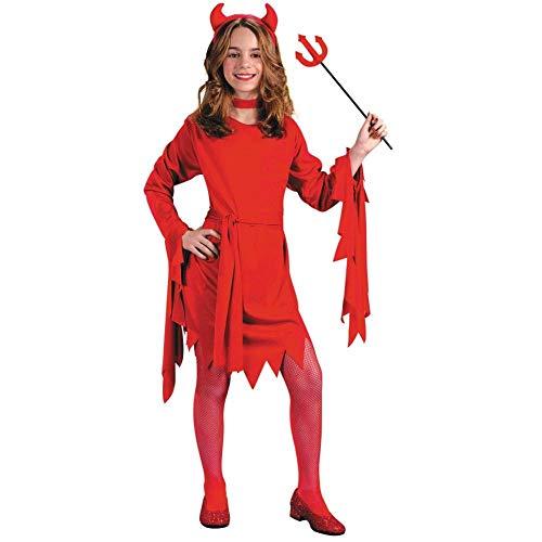 Fun World Girls Devil Costume, Multicolor, Medium 8-10