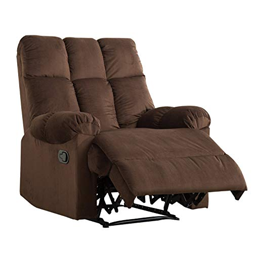 Mecor Recliner Chair Manual Reclining Chair Fabric Quilted Padded Single Sofa Chair for Living Room Chocolate