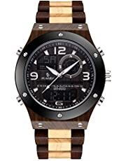 Wood Watch, Men's Watch Digital Casual Business Classic Electronic Chronograph Waterproof LED Analog Quartz Wrist Watch with Wooden Band Black Brown