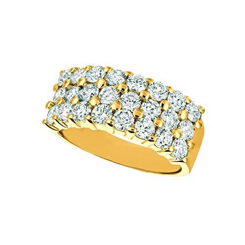 14k Yellow Gold 2.25ctw. Diamond 3-Row Ring 2 Row Pave Diamond