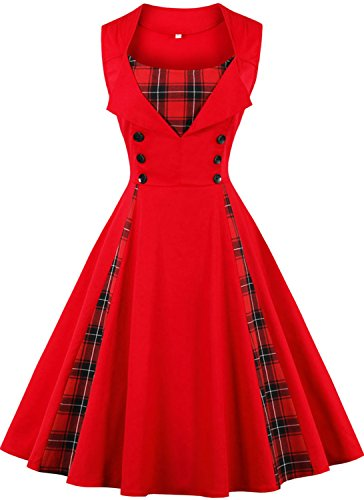 Jiuzhoudeal Women's 1950s Vintage Sleeveless Retro Swing Party Classy Dress (Small, Red&Plaid) ()