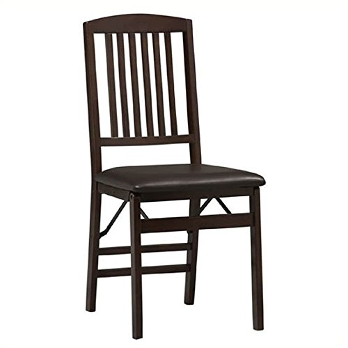 Linon Triena Mission Back Vinyl Side Chair in Espresso Finish (Set of 2)