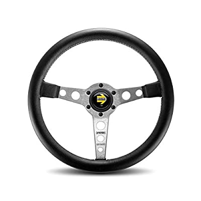MOMO PRO35BK0S Prototipo Silver 350 mm Leather Steering Wheel: Automotive