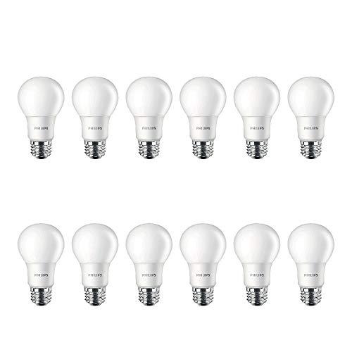 Philips LED Non-Dimmable A19 Frosted Light Bulb: 800-Lumen, 5000-Kelvin, 9-Watt (60-Watt Equivalent), E26 Base, Daylight…