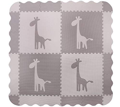 4 Large Interlocking Gray Foam Baby Play Mat with Giraffes Tiles - Play Mats with Edges. Each Tile 24 x 24ins. Total 48 x 48in (Plus Edges)
