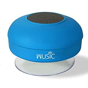 Wusic Bluetooth Wireless Waterproof Shower Speaker with Hands-Free Speakerphone (Blue)