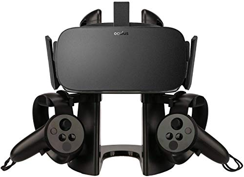 AFAITH VR Stand, Universal VR Headset Display Holder Accessories Storage for Oculus Rift/Rift S/Oculus Quest with Touch Controller