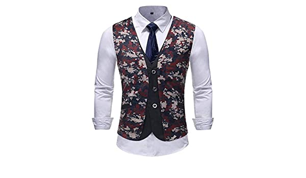 YKeen Mens Placket Plus-Size Patched Printing Pattern Casual Vest Waistcoat