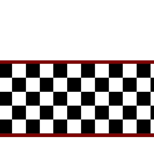 Checkered Flag Cars Nascar Wallpaper Border-6 Inch (Red Edge) by ()