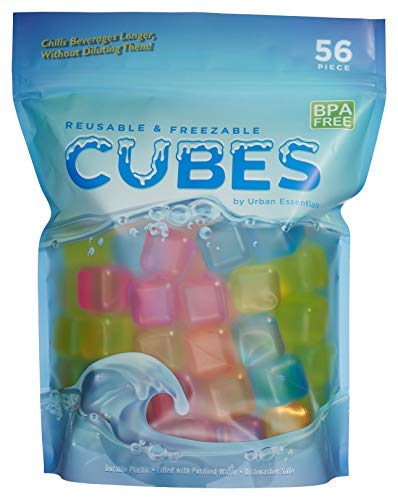 (Urban Essentials Reusable Ice Cubes - Quick Freeze Colorful Plastic Square Icecubes With Resealable Bag Assorted Colors Pack Of)