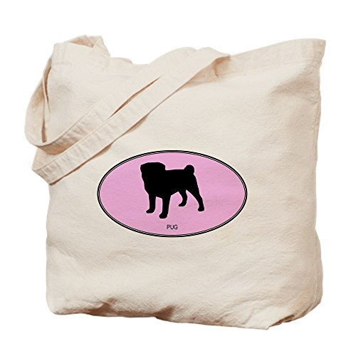 CafePress Pug (Oval Pink) Natural Canvas Tote Bag, Cloth Shopping - Bag Tote Pets Silhouette