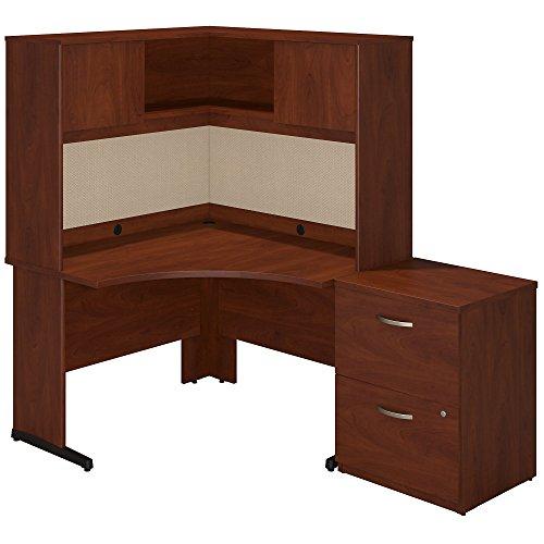 Bush Business Furniture Series C Elite 48W x 48D C Leg Corner Desk with Hutch and Storage in Hansen Cherry