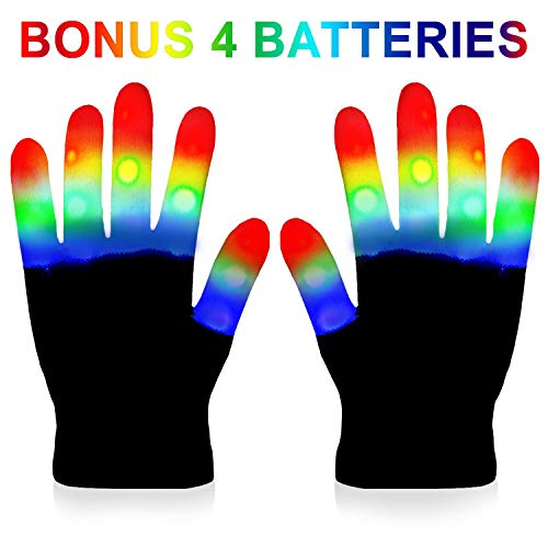 LED Gloves Kids - Light Gloves Rave with 3 Colors 6 Modes for Kids, LED Gloves for Halloween Party and Christmas Gift - Extra Batteries