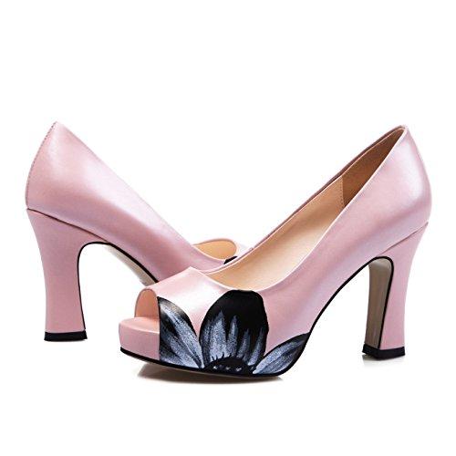 Zormey S.Romance Mujeres Sandalias De Cuero Auténtico Slip-On Fashion Office Lady Bombas Peep Toe Alto Talón Extraña Mujer Blanca Rosa Zapata Ss799 7.5