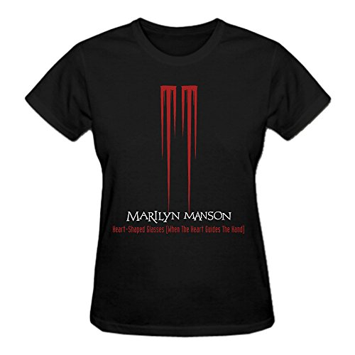 Marilyn Manson Marilyn Manson Pure Cotton Graphic T Shirts For Women Crew Neck - Lincoln Bayside