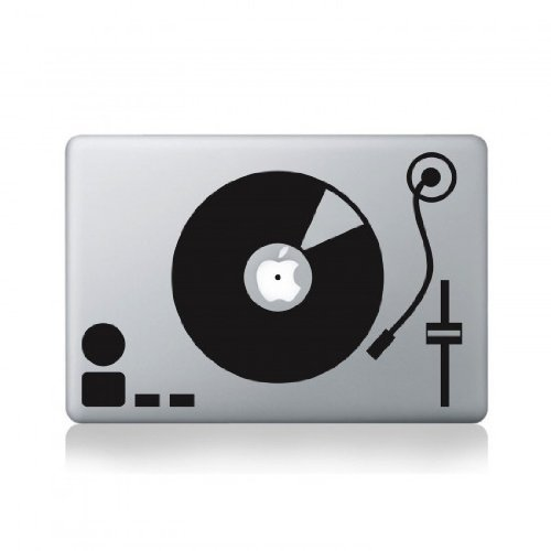 Record Turntable Macbook Pro Vinyl Decal (17 Inch Turntable)