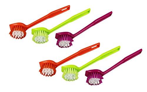 COM-FOUR® 6er Set Spülbürste Schrubbürste in verschiedenen Farben
