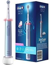 Oral-B PRO 3 3000 Sensitive Clean Elektrische tandenborstel/elektrische tandenborstel, met 3 poetsmodi en visuele 360° drukcontrole voor tandverzorging, ontworpen door bruin, blauw