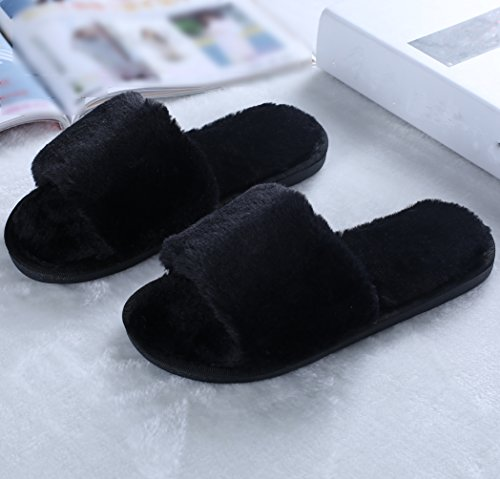 Pestor Mujeres Plush Soft Open Toe House Clog Zapatillas Spa Slide Slipper Zapatos De Interior Negro