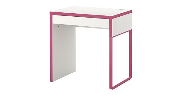Ikea MICKE – Escritorio, Blanco, Rosa – 73 x 50 cm: Amazon.es: Hogar