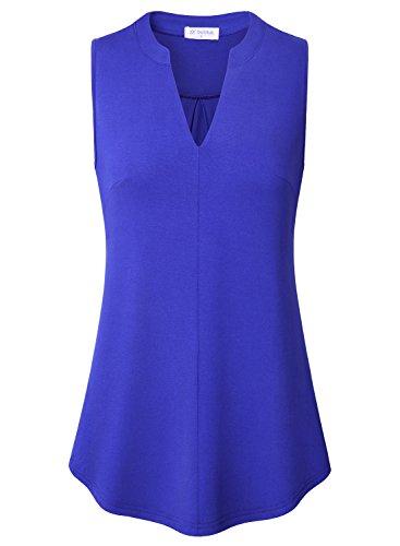 Bulotus Summer Sleeveless Shirt Womens Solid Jersey Lightweight Casual V Neck Cami Tops Blue L