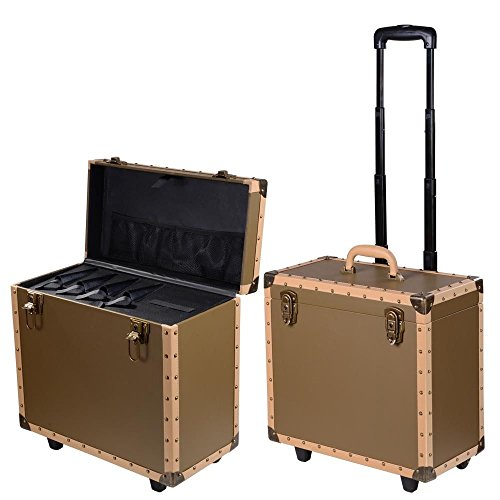 Large Hair Rolling Makeup Case Salon Stylist Train Storage Barber Box Bronze