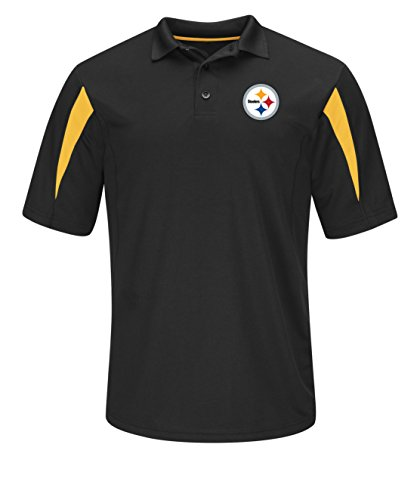 - VF LSG NFL Pittsburgh Steelers Pass Through Short Sleeve Synthetic Polo, Medium, Black-Yellow Gold