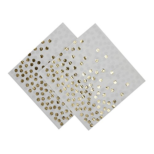 Geeklife Gold Paper Luncheon Napkins,Sparkly Gold Foil Dots Decorative Napkins Bulk for for Wedding,Party and Cocktail,2-ply,40 pcs (Dots Foil)