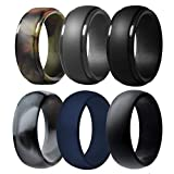Silicone Wedding Ring for Men, 6 Pack Breathable Silicone Rubber Wedding Bands Thin Silicone Ring - 8.7 mm Wide(Camo,Blue,Dark Grey,Black) (Camo,Blue,Dark Grey,Black, Size 11 - (20.57 mm))