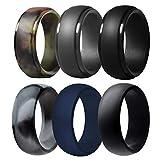 Silicone Wedding Ring for Men, 6 Pack Breathable Silicone Rubber Wedding Bands Thin Silicone Ring - 8.7 mm Wide(Camo,Blue,Dark Grey,Black) (Camo,Blue,Dark Grey,Black, Size 11 - (20.57 mm))