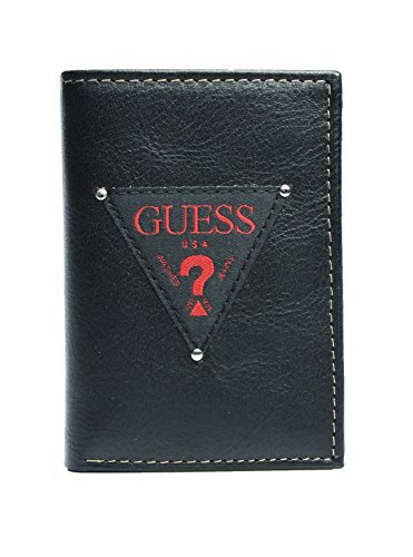 New Guess Men's Leather Trifold Credit Card Wallet, ()