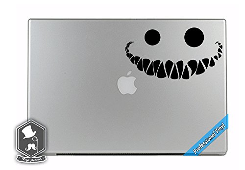 Alice In Wonderland Inspired Cheshire Cat Smile Vinyl Decal Sticker for Apple MacBook Dell HP Alienware Asus Acer or Any Laptop Notebook PC Computer