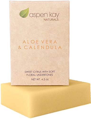Aloe Vera & Calendula Soap, 100% Natural & Organic, With Organic Aloe Vera, Calendula & Turmeric. Use As a Face Soap, Body Soap or Shaving Soap. For Men, Women, Teens and Baby. Gentle Soap. 4oz Bar (Best Melt And Pour Soap For Acne)