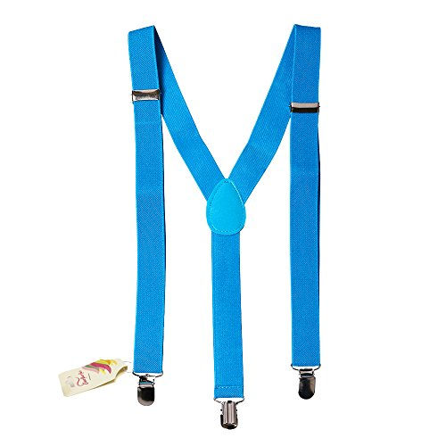 Neon Blue Solid Suspenders - Stylish And Practical Solid Suspenders In Fashionable Neon -
