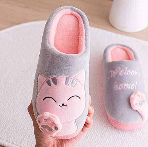 Chaton Hommes Maison La Bande Pour Coton Blanc Peluche Slip Tukistore D'hiver Gris de Chaudes À Femmes Chaussures En Chaussures Dessinée Anti Pantoufles Maison Doux 1nq5FIaYw