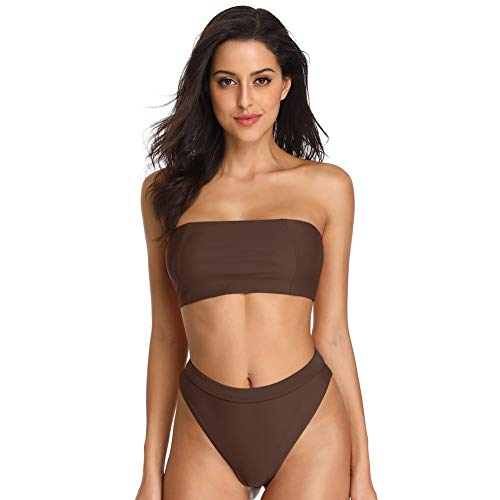 - Dixperfect Sexy Bikini Set Swimwear Classic Bandeau Tube Top 80's/90's High Cut Bottom for Women (Chocolate Brown, XL)