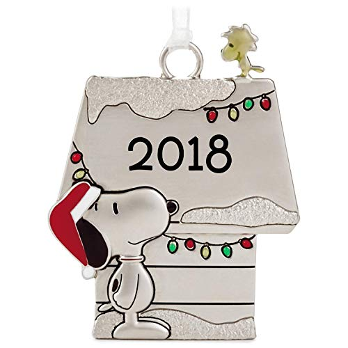 Hallmark Peanuts Holiday Snoopy and Woodstock Metal Quote Ornament, 2018