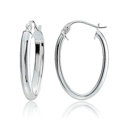 Hoops & Loops Sterling Silver 3mm High Polished Oval Hoop Earrings, 20mm