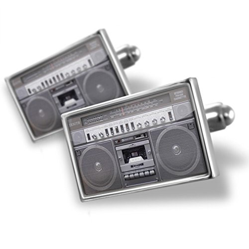Cufflinks Boombox / Ghettoblaster, speakers, cassette, radio - Neonblond