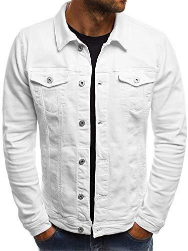 Men's Solid Color Vintage Button Tops Coat with Pocket Long Sleeve Slim Fit Button Up Denim Field Shirt Jacket