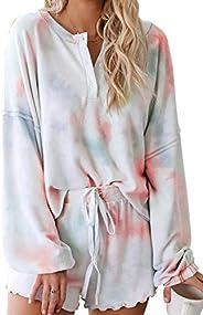 Fixmatti Womens Pajamas Set Long Sleeve Tee and Shorts Pants Lounge wear